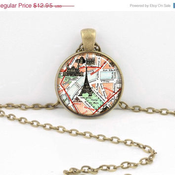 ON SALE Vintage Map Paris Eiffel Tower Gift Pendant Necklace or Key Ring