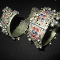 Kuchi Jewelry Hand Cuffs Bangles With Gungroo Traditional Afghan Belly Dance Accessories
