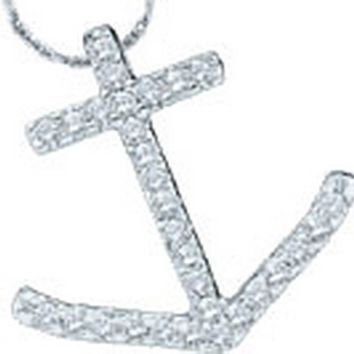 14kt White Gold Womens Round Diamond Anchor Nautical Pendant 1/4 Cttw