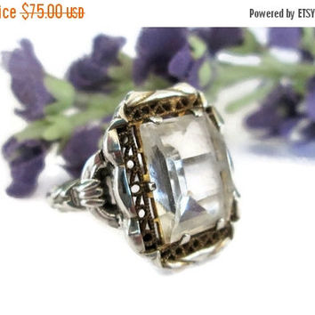 ON SALE Vintage Art Deco Filigree Sterling Ring, by J.J. White, Quartz with Gold Filigree, Estate Costume Jewely,  Size 4