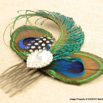 Bridal Peacock Comb,Handcrafted Blue Peacock Feather Fascinator Clip,Vintage Style Hair Accessory,with Clear Teardrop Rhinestone Jewel