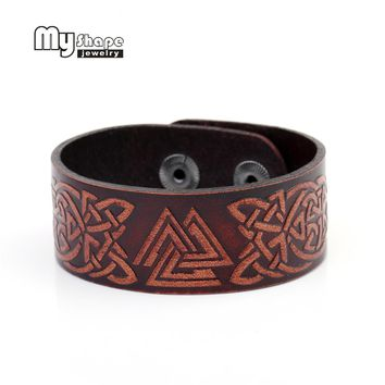 Celtic knot Wolf Leather Bracelets Slavic Jewelry - Amulet  Snap Button for women