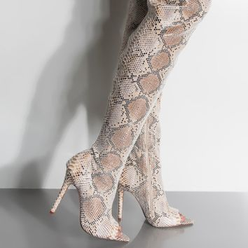 Creole Tan Snakeskin Thigh Boot