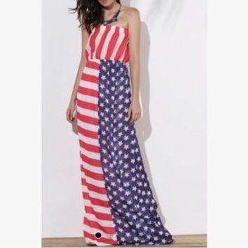 Strapless Patriotic American Flag Maxi Dress