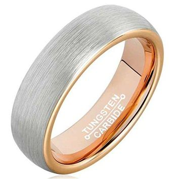 6mm Tungsten Carbide Ring Rose Gold Plated Fashion Wedding Engagement Promise Band Silver Dull Polish (Platinum 14k, 18k Rose Gold)