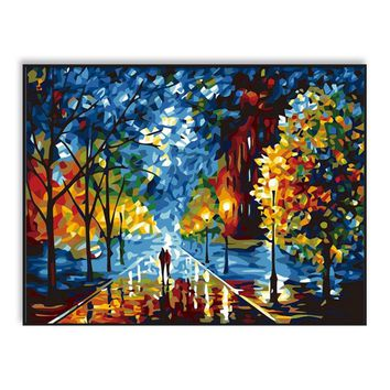 DIY Oil Painting By Numbers Acrylics Abstract Wall Art Digital Pictures Color For Adults Kids Hand Paint Romantic Night SZH-459