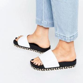 SIXTY SEVEN | SixtySeven Serla Patent White Espadrille Slider Sandals at ASOS