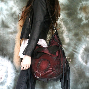 Distressed asymmetrical burgundy & black leather hobo bag tribal hobo bag artistan purse unique bohemian goth african festival free people