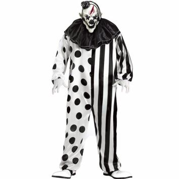 2017 plus size striped kill clown party costumes men jumpsuit mask killer clown costume Halloween scary Party cosplay costumes