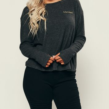 Blessed Long Sleeve Top (Charcoal)