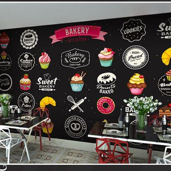 Simple Art Bakery Pizza Cupcake Patten Wall Paper Mural Rolls Size for Wall 3d Wallpaper Livingroom Restaurant Coffee Cake Shop