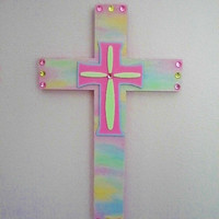 "PASTEL & BLING CROSS - Sparkling Spring or Easter Cross Handpainted Wood w/ Pastel Rhinestones  11"" x 7"""