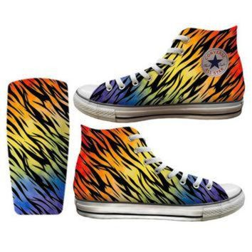 DCKL9 Rainbow Zebra Printed Converse All Stars and Vans