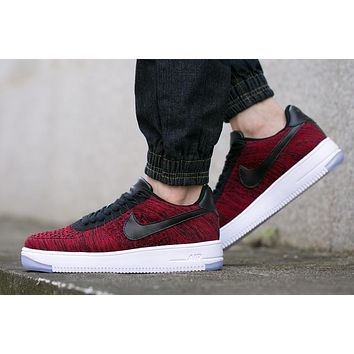 Originals Nike Air Force One 1 Flyknit Low Red / Black / White Running Sport Casual Sh