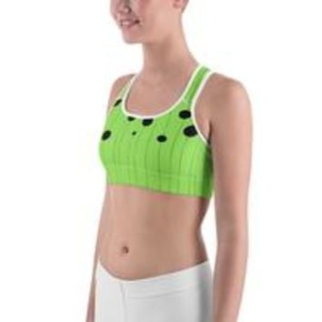 All-over-print Sports bra - Dots on strings, canary green