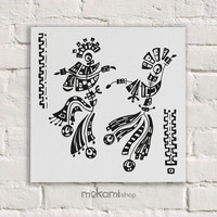 "Canvas print Ready to hang TRIBAL DANCERS, Art Wall Decor, Bedroom Painting, Home Decor Wall, Art Home & Living Room 7.8""x7.8"""