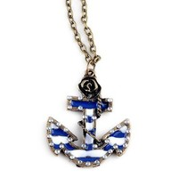 Sailor Style Anchor inlay Crystal Alloy Necklace Chain | AihaZone Store