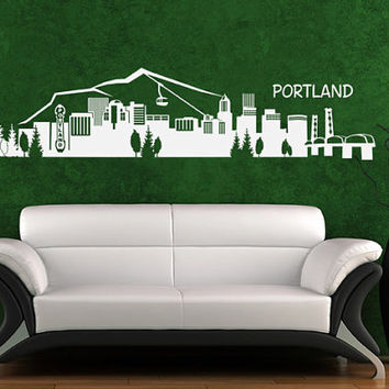 Wall Vinyl Sticker Decals Decor Art Bedroom Design Mural Portland Skyline Town City (z1001)