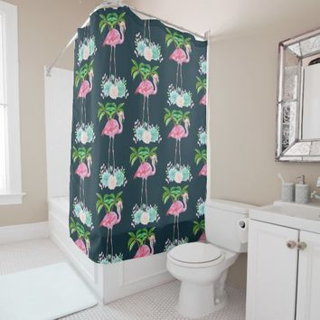 Pink Flamingo Palm trees and Floral Succulents Shower Curtain