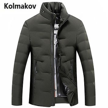 KOLMAKOV 2017 new winter high quality men's stand collar solid color down jacket warm parkas,90% white duck down coats men.M-3XL