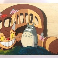 My Neighbor Totoro Hand Paint wood Box Studio Ghibli 2 Cat bus
