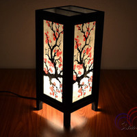 Table Lamp Sakura Mulberry Paper and Wooden Lantern For Home Decoration.