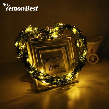 3m/10ft 30-LED Fairy Light Green Leaves Garland Copper Wire String Lamp for Glass Craft Bottle Valentines Wedding Decoration