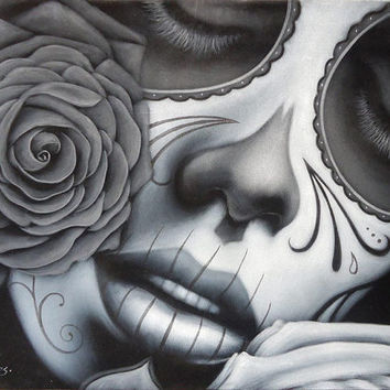 Mexican catrina skull girl black velvet oil painting handpainted signed art No.5