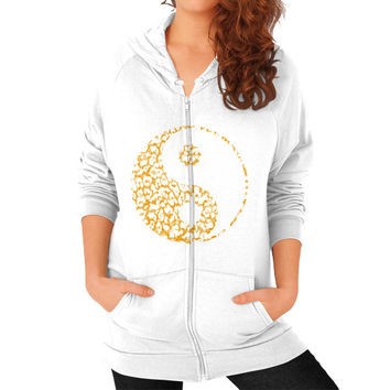 Yin Yang Leopard Zip Hoodie (on woman)