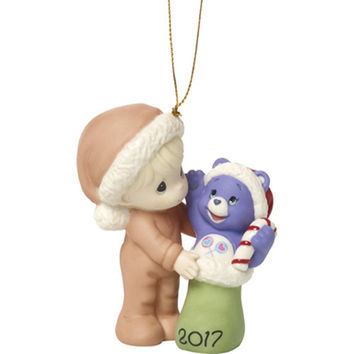 """Precious Moments Care Bears """"I Love Sharing Christmas With You"""" 2017 Bisque Porcelain Ornament"""
