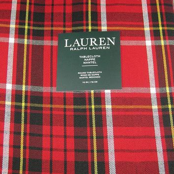 """Ralph Lauren Tartan Plaid Tablecloth 60"""" x 120""""  Red / Black / Yellow / White New in Package"""