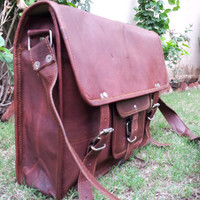 Mens Leather Satchel Bag cross body messenger laptop macbook bag