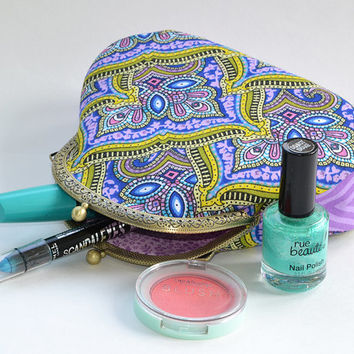 Paisley green violet frame purse | Turkish paisley lilac cotton cosmetic bag | Geometric purse | Clutch with Kisslock