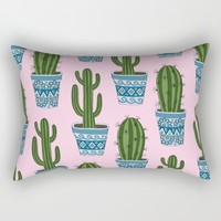 Cactus Pattern (Pink) Rectangular Pillow by Sarah Oelerich