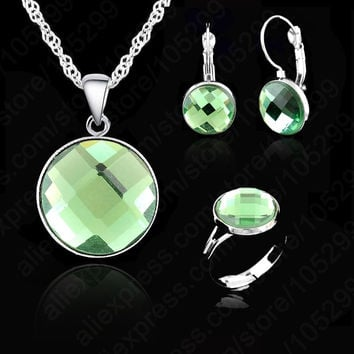 Elegant AAA Crystal Wedding Engagement Gift Set, Silver With White Gold Plated Silver Necklace Earring Ring Jewelry 6 Colors