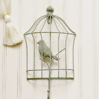 Birdcage Wall Hook, Choose your Color, Bird Wall Hook, Single Wall Hook, Coat Hook, Wall Hook, Shabby Chic Wall Hook, Unique Wall Hooks
