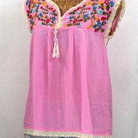 """La Marbrisa"" Sleeveless Mexican Blouse -Bubblegum Pink + Fiesta"