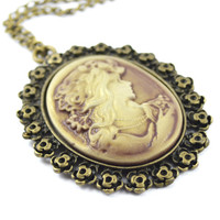 Cameo pendant necklace silver antique ice necklace
