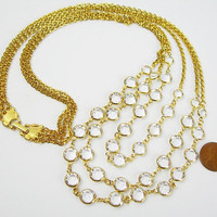 Bezel Set Crystals Necklace, Faceted Clear Sparkling Crystals Draping from Three Strands of Golden Chains, Vintage 1980s Bride Gift for Her
