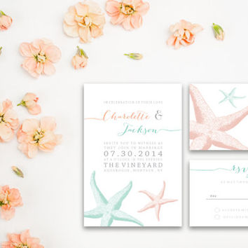 Nautical Wedding Invitation / Mint Coral Starfish / Destination Wedding / Modern Classic Print / Digital Printable / Beach Wedding