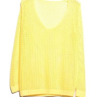 V-neckline Loose Knit Sweater in Yellow