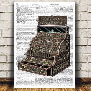 Vintage print Retro poster Cash register print Dictionary art RTA1024