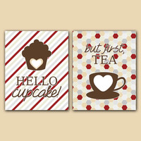 "DIGITAL FILE | Kitchen Set ""Hello Cupcake!"" & but first, Tea"" Food Drink Dining White Gray Brown Red Tan 8x10 Download Wall Art Decor Print"