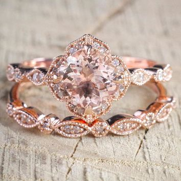 2 Pcs/Set Crystal Ring Jewelry Rose Gold Color Wedding Rings For Women Girls Gift Engagement Wedding Ring Set
