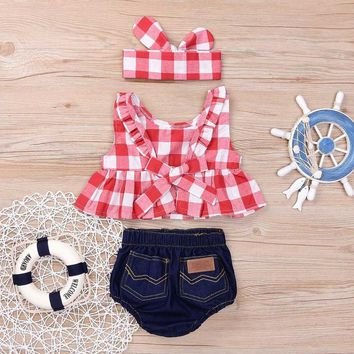 """""""Cookout Ready"""" Baby Girls Plaid Tops & Denim Bloomers Set"""