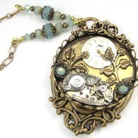 Opal Flowers Steampunk by JewelsByNature on Etsy