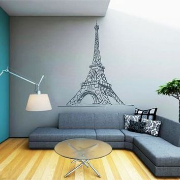 ik2482 Wall Decal Sticker Eiffel Tower Paris France living room bedroom