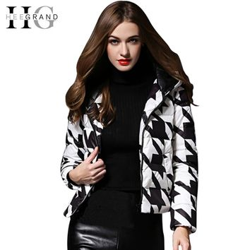 HEE GRAND Plaid Print Black White Duck Down Coat New Arrivals Slim Winter Jacket Women Hooded Fashion Manteau Femme WWY331