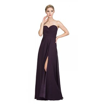 Starbox USA 6425 Strapless Long Bridesmaid Dress with Slit Eggplant