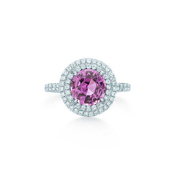 Tiffany & Co. - Tiffany Soleste® ring in platinum with diamonds and a pink sapphire.